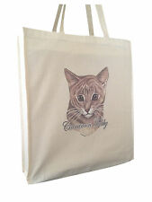 Cat Feline Cinnamon Tabby Natural Cotton Shopping Bag Long Handles Perfect Gift