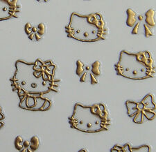 Nail Art 3D Sticker Metal Like Goldtone Hello Kitty and Bow 43stickers/sheet