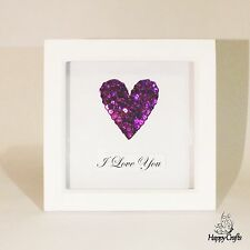 Sequin Heart Personalised Quote Picture Frame Dark Purple