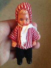 "Vintage Miniature hard plastic boy doll winter outerwear tagged  4"" jointed arms"