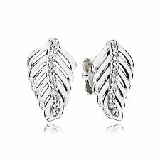 Authentic Pandora Silver Shimmering Feathers Stud Earrings Clear CZ #290582CZ