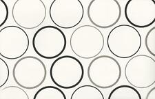 Wallpaper Designer Black and Metallic Silver Circles on White