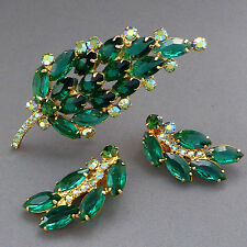 VERIFIED VINTAGE JULIANA D & E EMERALD GREEN RHINESTONE CLIP EARRINGS PIN BROOCH