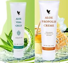 FOREVER LIVING ALOE VERA GELLY & ALOE PROPOLIS CREME SET OF 2 FOR SKIN FREE SHIP