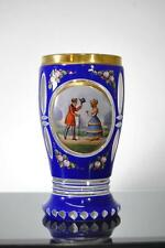 ANTIQUE MOSER BOHEMIAN CZECH COBALT BLUE & GOLD CUT TO CLEAR GOBLET