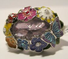 Double Finger Ring Rhinestone Crystal Butterfly Lady Bug Sizes 8 9 NWT L185-86