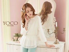 YOCO Womens Lace Waisted Cotton Top With Ribbon Tie Japanese/Korean Fashion