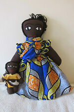 Vintage Handmade Folk Art African American Black Cloth Rag Doll Mother & Child