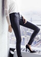$498 Express Edition Black Leather Skinny Ankle Pants Leggings Kim K Size 8 NWT