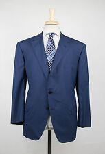 New D'AVENZA Blue Plaid Wool 3 Roll 2 Button Suit Size 54/44 S