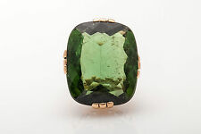 Antique 1930s DECO $20,000 30ct Natural Green Tourmaline 14k Yellow Gold Ring