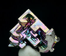Iridescent Bismuth Rainbow Hopper Crystal Cluster Mineral Specimen w/info card