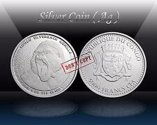 """CONGO 5000 FRANCS 2015 """" SILVERBACK GORILLA """" Silver 1oz coin ( Ag 999/1000) UNC"""