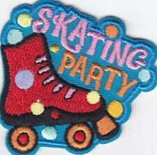 """""""SKATING PARTY"""" w/ROLLER SKATE- Iron On Embroidered Patch-Skates, Sports, Words"""