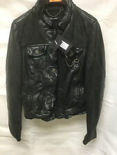 Muubaa Women's Scuff Effect Black Leather Biker Jacket. RRP £339. UK 8. M0008.