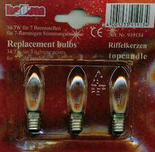 3W E10 Birne Kerzen Lampe Glühbirne Leuchtmittel Riffelkerze 3er Set 34V