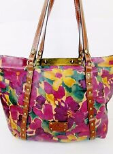 Patricia Nash Purple Floral Romance Leather Benvenuto Tote Bag $199
