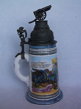 """Antique 10"""" German Beer Stein Pewter Lid, Cannon, Lion, Military 1883 Lithopane"""