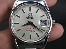 VINTAGE TITUS 2824-2 25J STAINLESS STEEL SS SWISS ETA DATE AUTOMATIC MENS WATCH