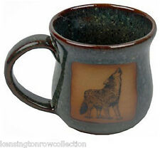 "MUGS - ""HOWLING WOLF"" HANDMADE POTTERY MUG - MOTTLED GREEN - WOODLANDS - LODGE"