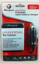 TARGUS TG-UCC UNIVERSAL CANON RAPID BATTERY CHARGER - NEW - DC AUTO - AC WALL