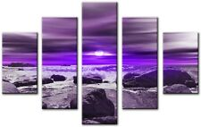Moderno Grande 32 x 45 Inch canvas Wall Art Astratto Viola Flora Stampa 5 Panel