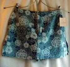 Liz Claiborne Short Tropical Floral Blue Denim Skort Skirt Plus Sz.16 Petite NWT