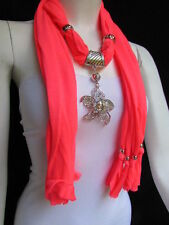 WOMEN B. CORAL FASHION FABRIC SCARF LONG NECKLACE BIG BEADS METAL FLOWER PENDANT