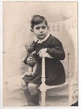 PHOTO ANCIENNE Enfant Garçon Assis  Ours en peluche Jeu Jouet Vers 1940 Studio