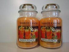 PAPAYA PUNCH Yankee Candle 22 oz Jar Candles LOT OF 2