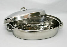 37cm 4.5L Stainless Steel Oval Roaster Roasting Pan Dish With Domed Lid Rack Pro