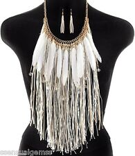 Fringes Women's Necklace & Earrings Set White Bib with Feathers Gold Plated