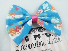 Care Bears Blue Fabric Handmade Hair Bow with Hearts Retro 80s 90s