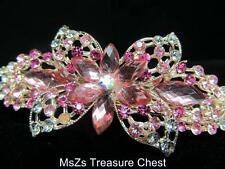 Pink Crystal Flower Hair Clip Barrette w AB Crystal in Center * New w Gift Pouch