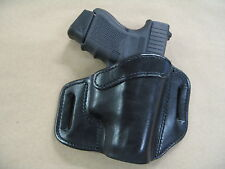 FN FNS 9mm Compact OWB Leather 2 Slot Molded Pancake Belt Holster CCW BLACK RH