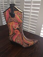 Corky's Footwear Cowgirl Rodeo Tall Multi-Color Paisley Rainboots - Size 6