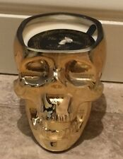 Dw Home Sparkling Cider Gold Glass Skull Candle The Macabre Halloween
