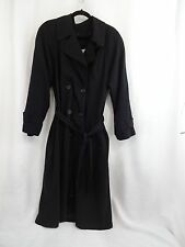 Julia Klein Sz 8 Long Black Trench Coat w/ Removable Liner Double Breasted Belt