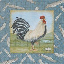 2 Serviettes en papier Coq Paper Napkins Proud Rooster