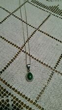 Vintage Mexico 950 Sterling Silver Malachite Pendant on 18 in chain