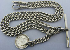 """Antique Solid Silver Double Albert Watch or Neck Chain T-Bar &Fob Bir 1910 18 ¼"""""""