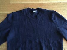 APC A.P.C. Mens Navy Blue Camo Raised Knit 100% Wool Sweater Size XS $220