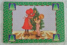 Set of 4 Bright of America Christmas Tree Holly Hobbie Reversible Vinyl Placemat