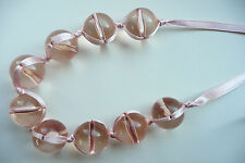NECKLACE – TWISTED DESIGN_LARGE CLEAR PEACH BEADS__PALE PEACH SILKY RIBBON