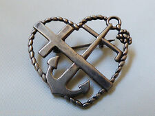 VTG signed Sterling silver 830S Norway Heart Cross Ancor pin brooch