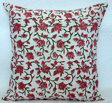 """16"""" BLOCK PRINTED COTTON THROW CUSHION COVER Ethnic Indian Decor Traditional Art"""