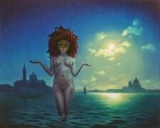 """NEW ORIGINAL MARK HARRISON """"Carnevale"""" Naked Girl Venice Moonlit OIL PAINTING"""