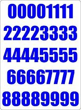 Number sheet sticker vinyl decal car bike door wheelie bin blue race