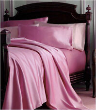 King Satin Bed Flat/Fitted Sheet + Pillowcases Set Pink