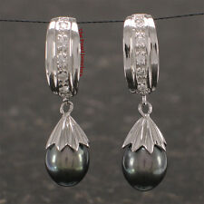 Solid Silver 925; Black Freshwater Cultured Pearl & C.Z .Dangle Stud Earring